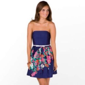 Lilly Pulitzer Lottie Navy Strapless Dress